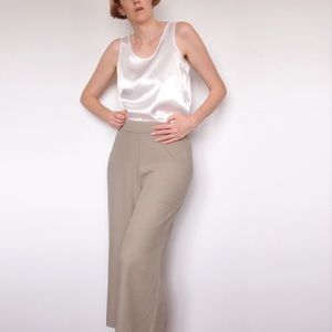 SUNNYGIRL Taupe Beige Linen Cropped Wide Leg Pants